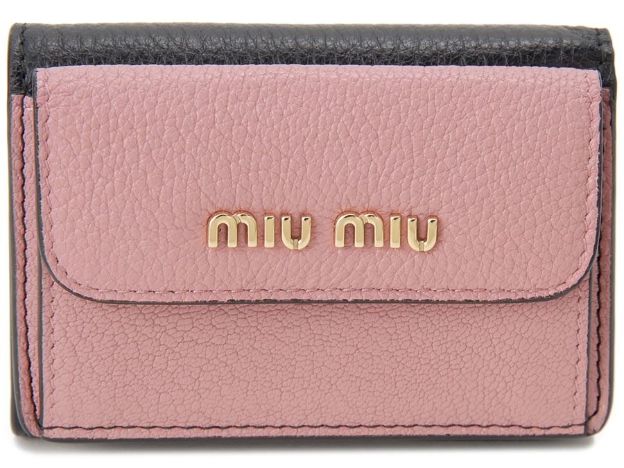 訳あり 化粧箱ダメージあり ミュウミュウ 三つ折り 財布 5MH020 2BJI F0UMV コンパクト 財布 ブラック×ピンク レディース 新品