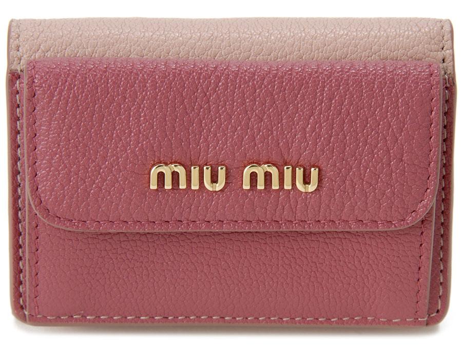 訳あり 化粧箱ダメージあり ミュウミュウ MIU MIU 三つ折り 財布 5MH020 2BJI F0UQH コンパクト 財布 ピンク レディース 新品
