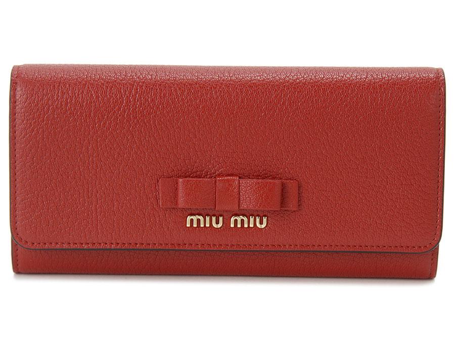 ミュウミュウ MIU MIU 長財布 5MH109 3R7 F0JU2 本革 リボン 財布 レッド レディース 新品