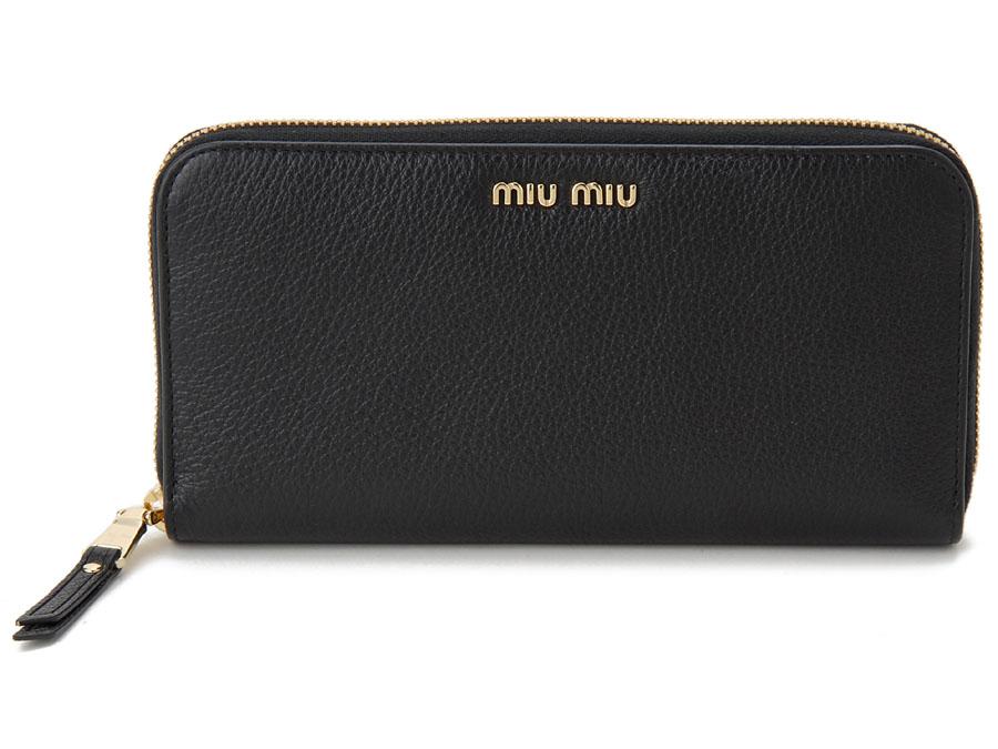 ミュウミュウ MIU MIU ラウンドファスナー 長財布 5ML506 2BJI F0LJ4 本革 リボン 財布 ブラック×レッド レディースP10SP