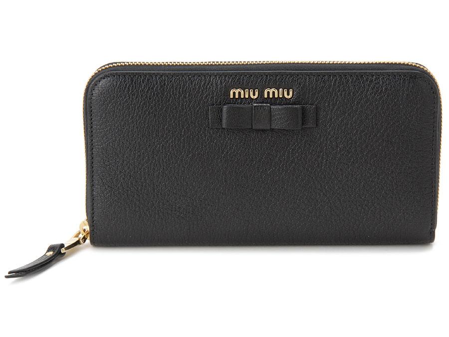 ミュウミュウ MIU MIU ラウンドファスナー 長財布 5ML506 3R7 F0002 本革 リボン 財布 ブラック レディース