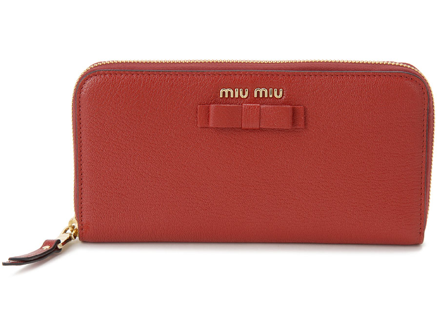 ミュウミュウ MIU MIU ラウンドファスナー 長財布 5ML506 3R7 F0JU2 本革 リボン 財布 レッド レディース 新品