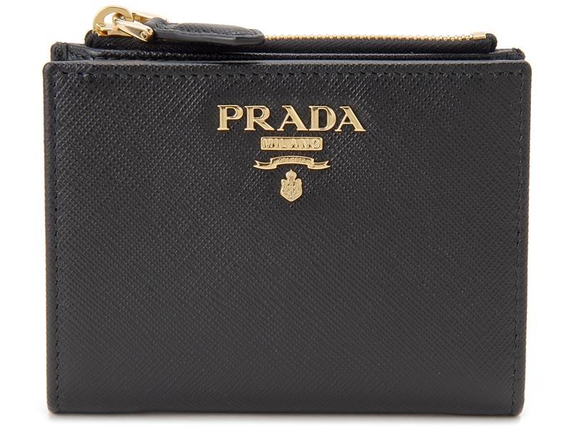プラダ PRADA 二つ折り財布 1ML023 QWA F0002 サフィアーノ コンパクト 財布 NERO ネロ ブラック P10SP
