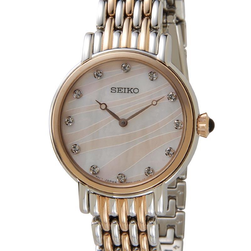 セイコー SEIKO SFQ806P1 SWAROVSKI スワロフスキー クリスタル クオーツホワイトシェル レディース 腕時計 P10SP
