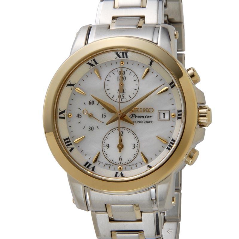 セイコー SEIKO プルミエ SNDV70P1 Premier クロノグラフ クオーツ ホワイトシェル レディース 腕時計 (プレミア) P10SP