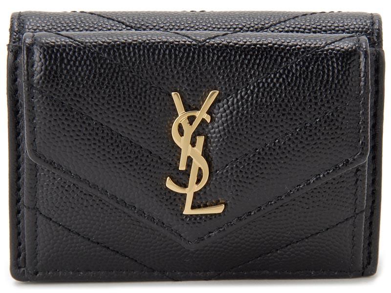 サンローラン パリ SAINT LAURENT 三つ折り財布 505118-BOWA1-1000 キルティング 財布 ブラック