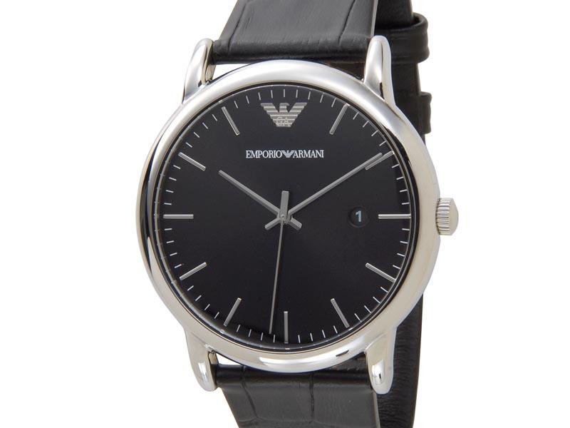 エンポリオアルマーニ EMPORIO ARMANI 時計 AR2500 Luigi ルイージ ブラック レザーベルト メンズ 腕時計