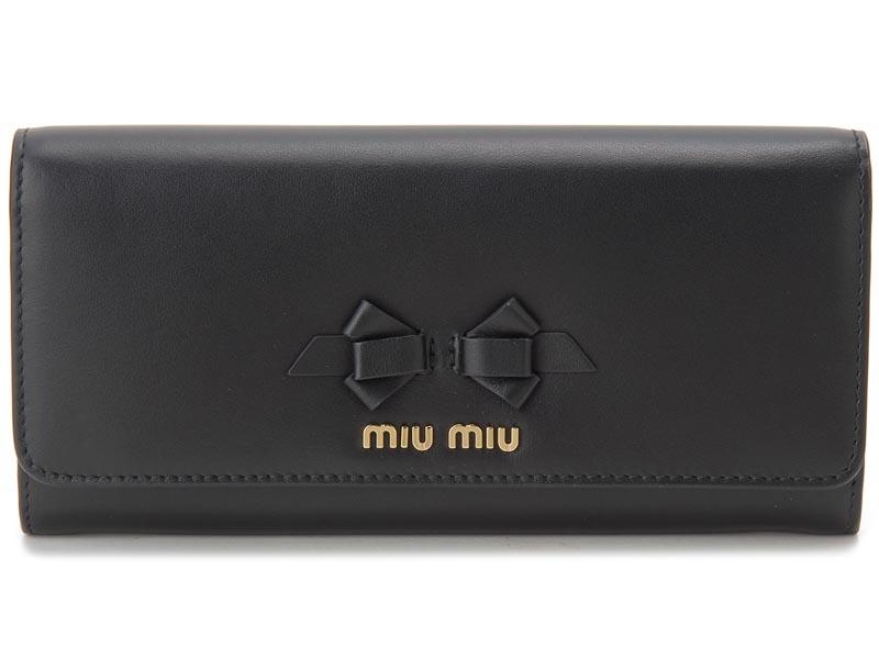 ミュウミュウ MIU MIU 長財布 5MH109 UEI F0002 本革 リボン 財布 ブラック レディース 新品