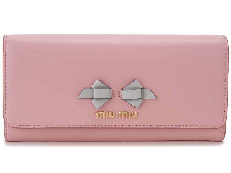 ミュウミュウ MIU MIU 長財布 5MH109 UEI F0002 本革 リボン 財布 ピンク×ライトグレー レディース 新品 【送料無料】