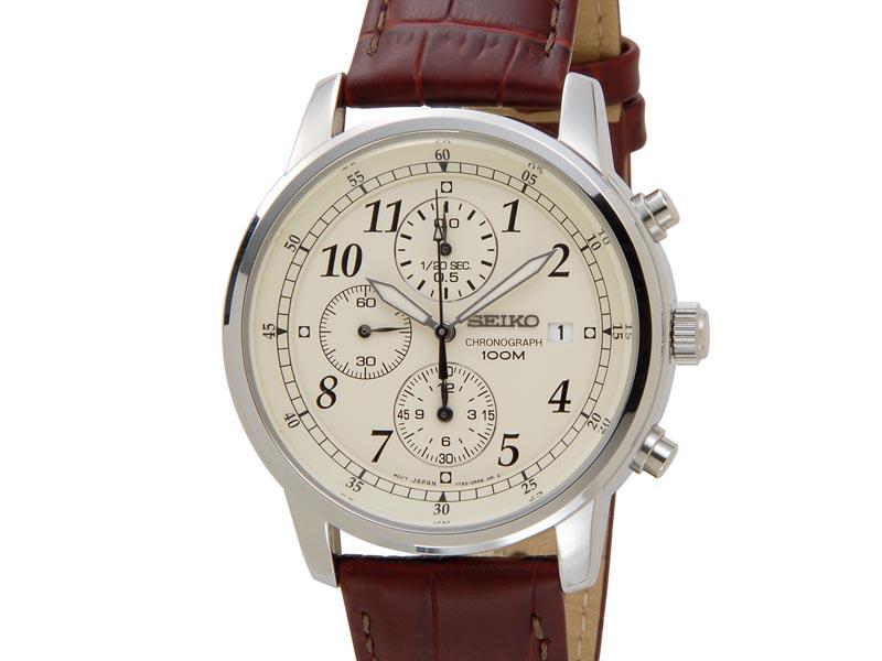 セイコー クロノグラフ SEIKO Chronograph メンズ 腕時計 SNDC31P1 クロノグラフ ウオッチ 革ベルト レッド 新品
