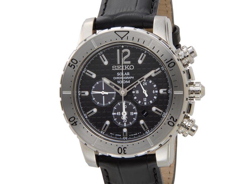 セイコー クロノグラフ SEIKO Chronograph メンズ 腕時計 SSC223P2 クロノグラフ ソーラー 革ベルト ブラック 新品