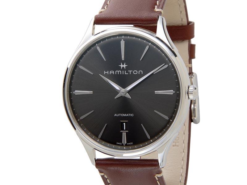 ハミルトン HAMILTON メンズ 腕時計 H38525881 Jazzmaster ジャズマスター シンライン オート 革ベルト グレー×ブラウン 新品