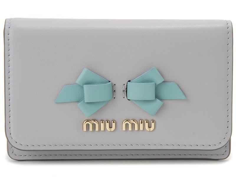ミュウミュウMIU MIU 名刺入れ 5MC011-UEI-F0407 リボン レザーカードケース グレー レディース 新品 【送料無料】