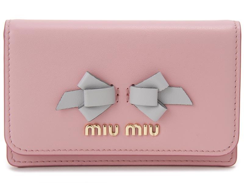 ミュウミュウMIU MIU 名刺入れ 5MC011-UEI-F0SXY リボン レザーカードケース ピンク レディース 新品
