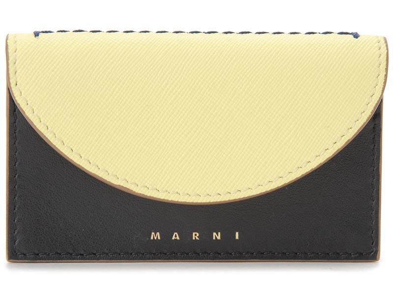 マルニ MARNI 名刺入れ PFMO0006Q0 Z2B35 レザー カードケース バニラ×ブラック レディース イタリアブランド 新品