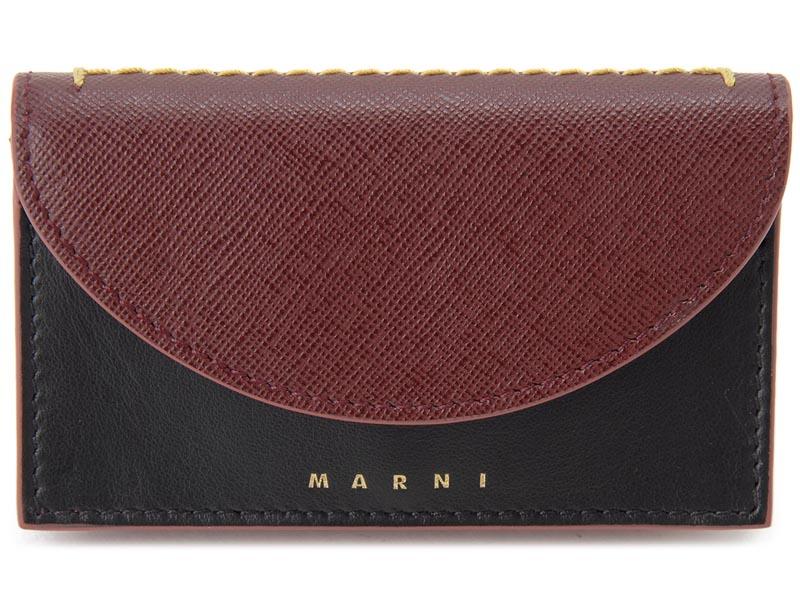 マルニ MARNI 名刺入れ PFMO0006Q0 ZI846 レザー カードケース ルビー×ブラック レディース イタリアブランド 新品