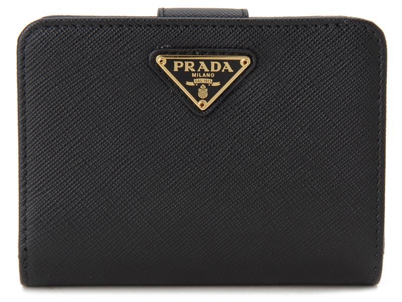 プラダ PRADA 二つ折り財布 1ML018 QHH F0002 サフィアーノ 財布 NERO ブラック レディース 新品