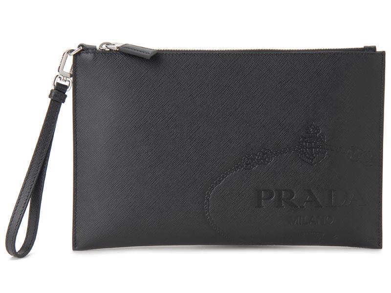 プラダ PRADA クラッチバッグ 2NH005 2MB8 F0002 サフィアノ ロゴ バッグ NERO ブラック メンズ 新品