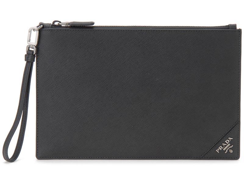 クリアランスセール プラダ PRADA クラッチバッグ 2NH005-QME-F0002 サフィアノ ロゴ バッグ セカンドバッグ NERO ブラック メンズ
