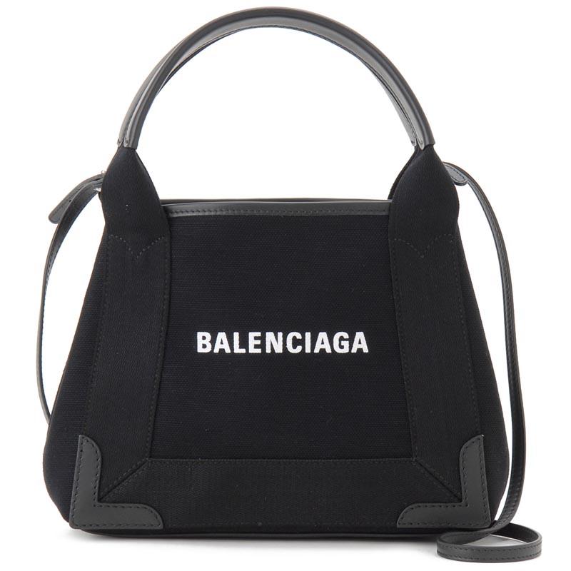 バレンシアガ BALENCIAGA トートバッグ 390346-AQ38N-1000 NAVY CABAS XS AJ キャンバス ブラック 新品