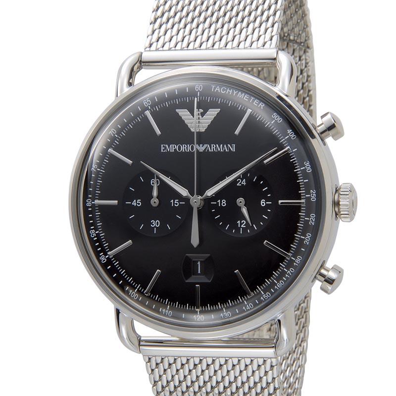 エンポリオアルマーニ EMPORIO ARMANI メンズ 腕時計 AR11104 AVIATOR アビエーター ブラック×シルバー新品 【送料無料】 [ポイント5倍キャンペーン][8/3~8/17]