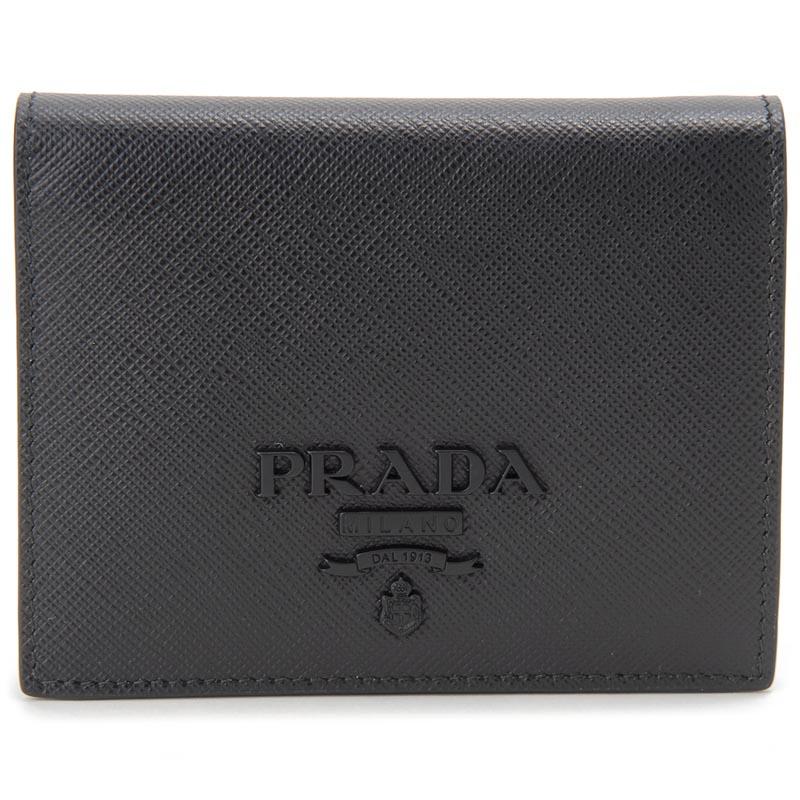 プラダ PRADA 二つ折り財布 1MV204 QWA F0002 レザー ブラック 新品 【送料無料】
