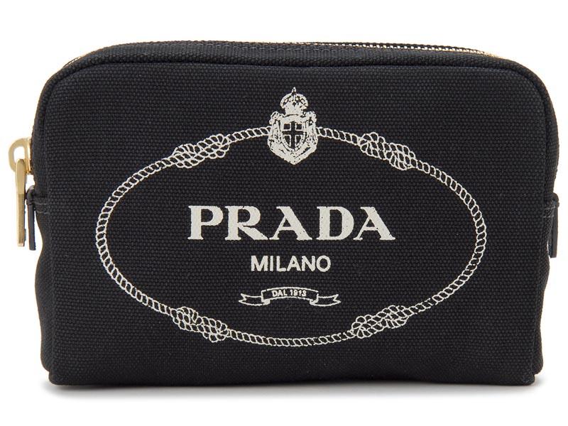 プラダ PRADA ポーチ 1NA021 20L F0N12 キャンバス ブラック 化粧ポーチ コスメポーチ 新品