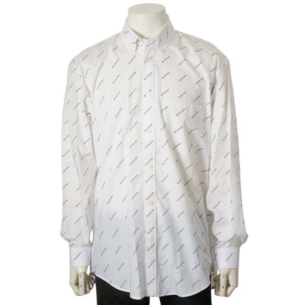 バレンシアガ BALENCIAGA シャツ メンズ 534333TBL969040 コットン100% ロゴ カジュアルシャツ ホワイト