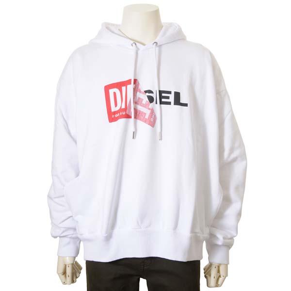 ディーゼル DIESEL パーカー メンズ スウェット ロゴ 裏起毛 プルオーバー ホワイト 白