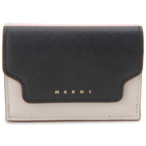 マルニ MARNI 三つ折り財布 コンパクト財布 ブラック×ホワイト×ピンク レディース