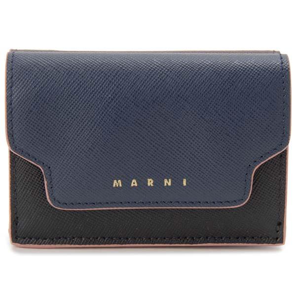 マルニ MARNI 三つ折り財布 コンパクト財布 ブルー×ブラック×レッド レディース
