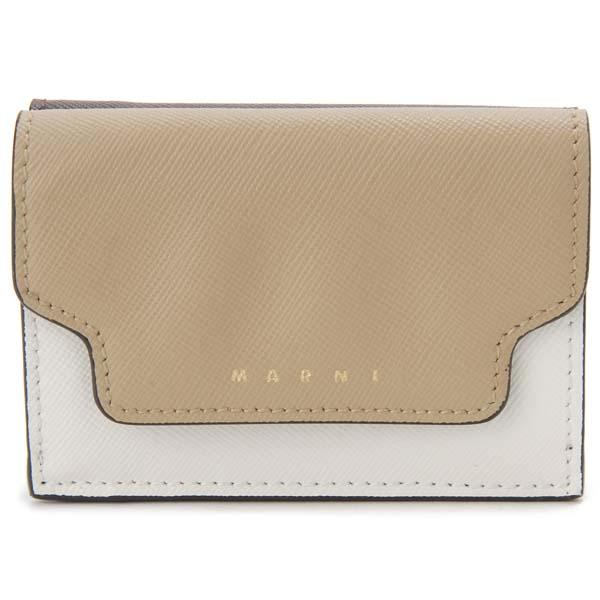 マルニ MARNI 三つ折り財布 コンパクト財布 ベージュ×ホワイト×ブラック レディース