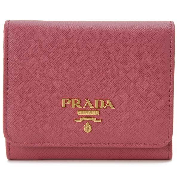 プラダ PRADA 三つ折り財布 1MH176 QWA F0505 コンパクト財布 ピンク レディース 新品 【送料無料】
