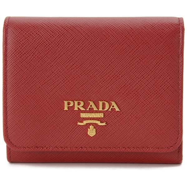 プラダ PRADA 三つ折り財布 1MH176 QWA F068Z コンパクト財布 レッド レディース 新品 【送料無料】