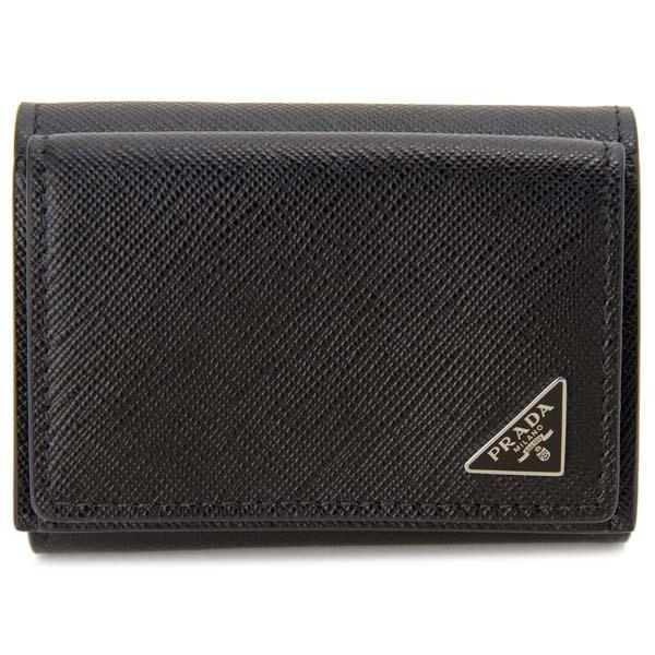 プラダ PRADA 三つ折り財布 2MH021 QHH F0002 コンパクト財布 ブラック 黒 メンズ 新品 【送料無料】