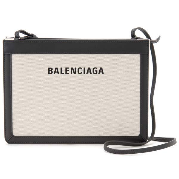 バレンシアガ BALENCIAGA ショルダーバッグ レディース 339937 AQ37N 1080 ネイビー ポシェット ナチュラル