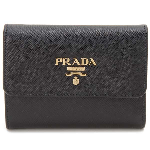 プラダ 三つ折り財布 レディース サフィアーノ ブラック 1MH025-QWA-F0002 コンパクト 財布
