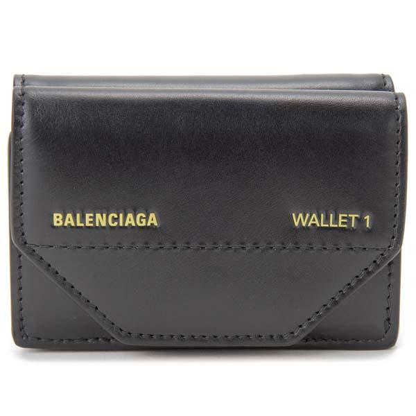 バレンシアガ BALENCIAGA 三つ折り財布 529098 0ST2N 1070 ブラック メンズ レディース