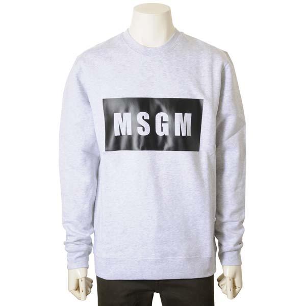 MSGM エムエスジーエム トレーナー グレー メンズ 2740 MM68 クルーネック スウェット 裏起毛