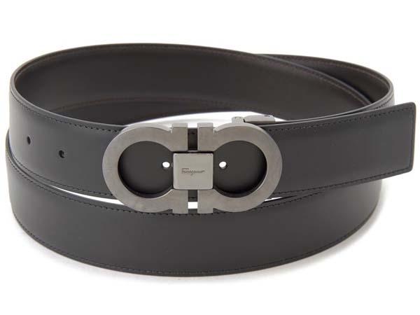 フェラガモ ベルト メンズ フェラガモ Ferragamo メンズ ベルト 679535 100cm ガンチーニ リバーシブル 本革 レザー ビジネスベルト ブラック