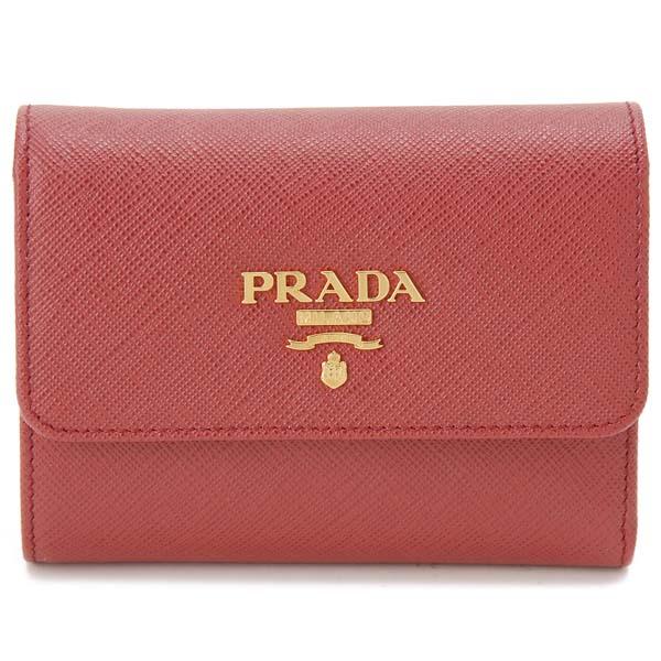 プラダ PRADA 三つ折り財布 レディース レッド 1MH025 QWA F068Z サフィアーノ コンパクト 財布