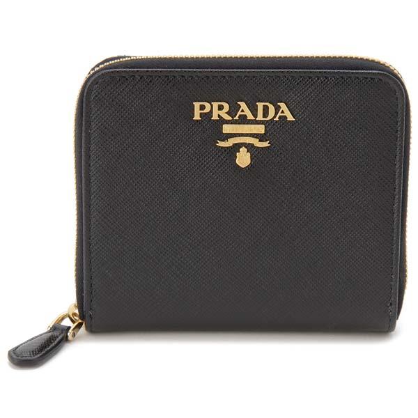 プラダ PRADA 二つ折り財布 レディース ブラック 1ML036 QWA F0002 サフィアーノ コンパクト 財布