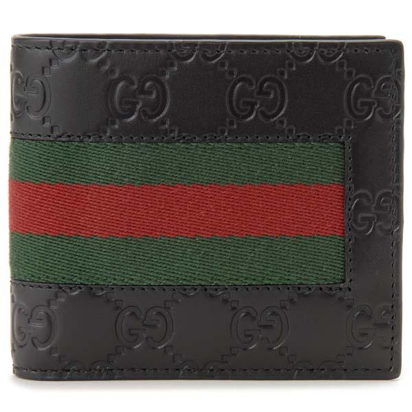 グッチ GUCCI 二つ折り財布 メンズ ブラック 408826 CWCLN 1060 NEW WEB ニューウェブ グッチシマ