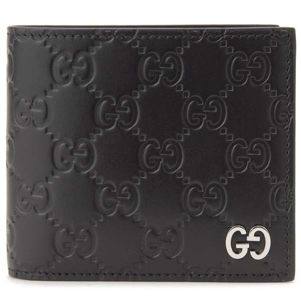 グッチ GUCCI 二つ折り財布 メンズ ブラック 473922 CWC1N 1000 グッチシマ グッチシグネチャー 財布