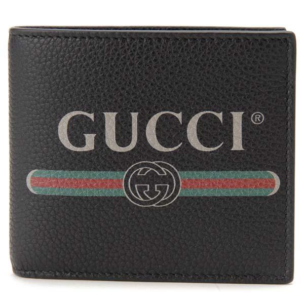 グッチ GUCCI 二つ折り財布 メンズ ブラック 496316 0GCAT 8163 GUCCI PRINT ロゴ プリント 財布