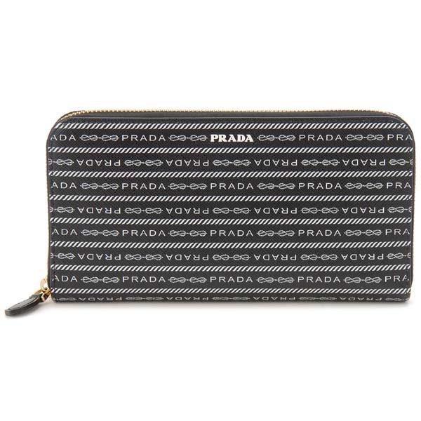 クリアランスセール プラダ PRADA ラウンドファスナー長財布 ブラック 1ML506 2DF8 F0002 サフィアーノレザー オールオーバーロゴ