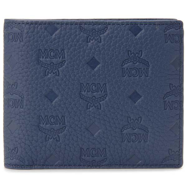 エムシーエム MCM 二つ折り財布 メンズ ネイビー MXS 9ABT29 VA001