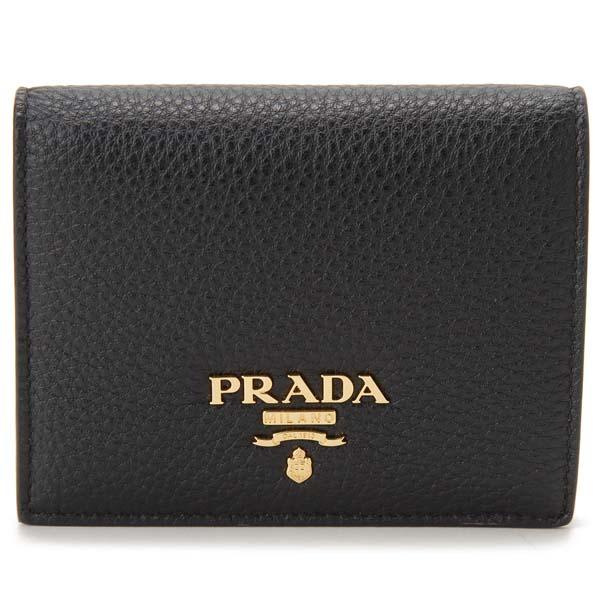 プラダ PRADA 二つ折り財布 レディース ブラック 1MV204-2BG5-F0LJ4 PEONIA ぺオニア サフィアーノ