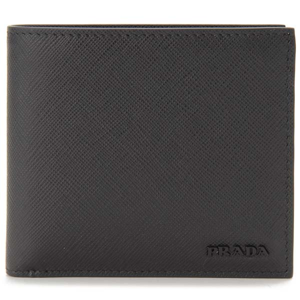 プラダ PRADA 二つ折り財布 メンズ ブラック 2MO738-ZLP-F0002 カーフスキン
