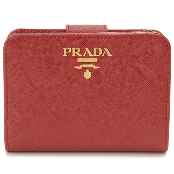 プラダ PRADA 二つ折り財布 レディース レッド 1ML018 QWA F068Z サフィアーノ コンパクト財布